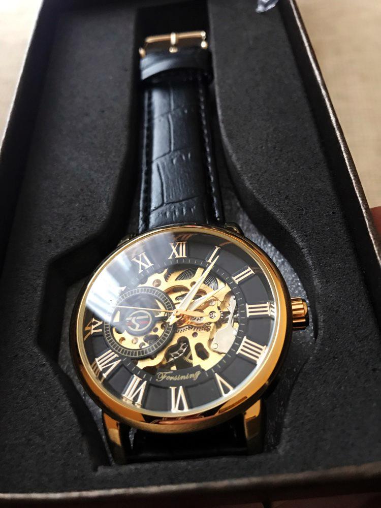 Forsining 3d Logo Design Hollow Engraving Black Gold Case Leather Skeleton Mechanical Watches Men Luxury Brand Heren Horloge 17