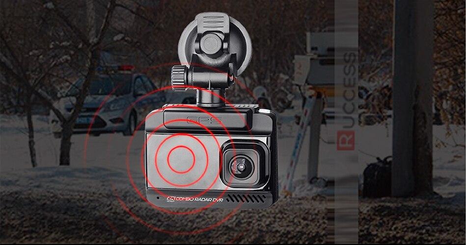Ruccess 3 in 1 Car Radar Detector DVR Built-in GPS Speed Anti Radar Dual Lens Full HD 1296P 170 Degree Video Recorder 1080P 10