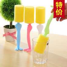 1PC Cleaning Tools kitchen tool brush for bottles Long Handle glasses cleaner Mug Cup glass dust Brush with Soft Sponge
