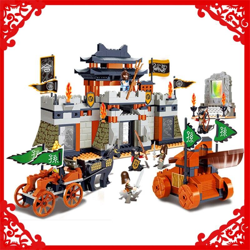 SLUBAN 0265 445Pcs Three Kingdoms Castle Battle Model Building Block Compatible Legoe  Figure Toys Gift For Children <br>
