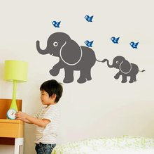 W150 Cute Elephant(momma and Baby) with Flying Birds Wall Decal Removable Vinyl Wall Sticker Baby Nursery Wall Decor