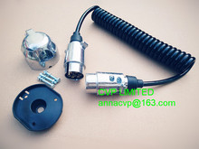 Towing trailer curly cable, spiral cable, coiled cable, 3m, 7 pin 12V alu. trailer plugs and sockets, trailer parts(Hong Kong)