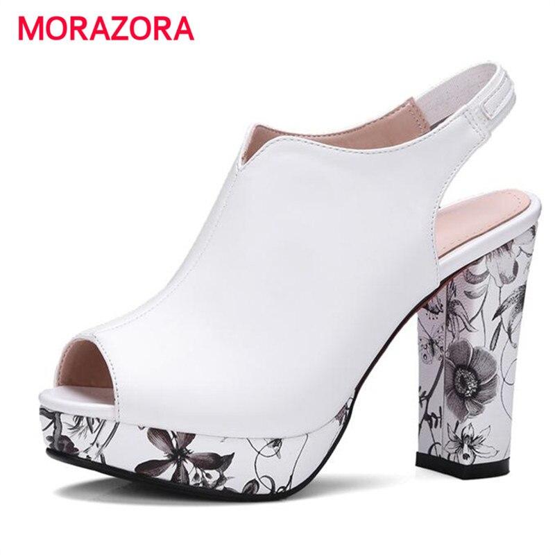 MORAZORA 2017 Summer shoes platform square high heels party shoes elegant fashion women pumps big size 34-42 peep toe<br>