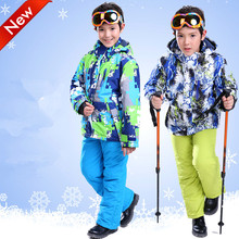 Free shipping Boys And Girls Ski Pants Snowboarding Jacket and Pants 2017 KAKILG Ski Suit Windproof Waterproof Kids Breathable(China)
