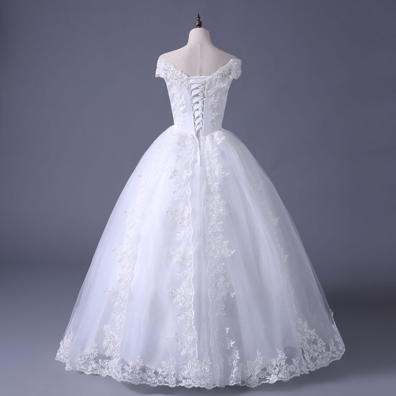 VENSANAC 2017 Free Shipping New A Line Lace Sweetheart Short Sleeve White Satin Bridal Wedding Dress Wedding Gown 30217 5