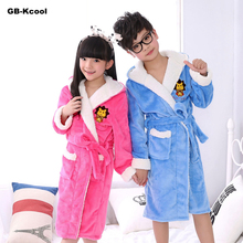 Fashion Spring 2018 Children's Bathrobes Boys Flannel Cashmere Pajamas Baby Hooded Thicken Cartoon Robes Dressing Gown Kid Girls(China)