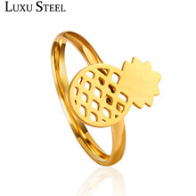 LUXUSTEEL Lover's Jewelry Gift Stainless Steel Gold/Silver Color Pineapple Rings For Women/Men(China)