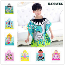 Cartoon Kids Cloak Towel Microfiber Fabric Beach Towel Hooded Baby Bath Towels Blanket For Children Serviette De Bain