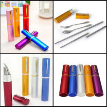 Travel Stainless Steel Tableware Portable Camping Bag Picnic  Lunch Box Fork Spoon Chopsticks Set with holder Case