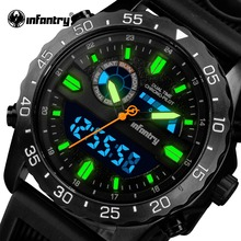 INFANTRY Relogio Masculino Mens Watches Top Brand Luxury Silicone Analog Digital Quartz Watch Men Military Waterproof Wristwatch(China)