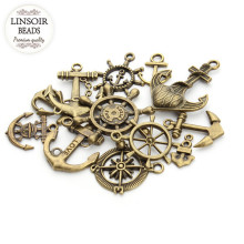 20pcs/lot Mixed Antique Bronze Compass Rudder Anchor Charm Pendant for Diy Bracelets Jewelry Making Handmade Craft F2676