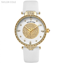 New Taylor Cole Gold Watches Women Fashion Watch Pure White Leather Strap Ladies Quartz Wristwatch Horloges Vrouwen Clock /TC110(China)