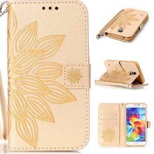 Flower Pattern PU Leather Wallet Flip Book Cover Case for Samsung Galaxy Grand / S3 Mini / S4 S5 Mini Phone Case W/ Carry Strap