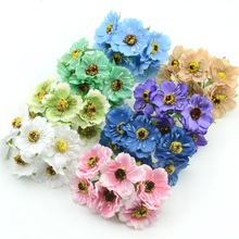 12pcs/lot Cheap Silk Cherry Blossoms Small Artificial Poppy Bouquet Wedding Decoration Mini Rose Flowers For DIY Scrapbooking