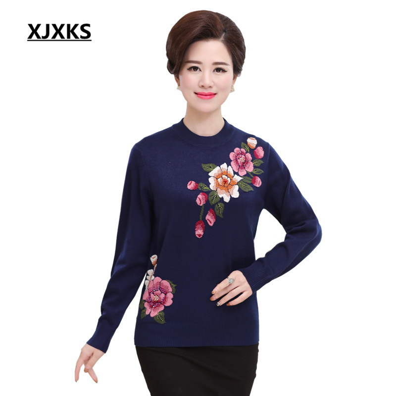 XJXKS Female Fall Winter Knitted Pullovers Printing Flowers Half Turtleneck Sweater For Women Casual Plus Size Jumper 8815