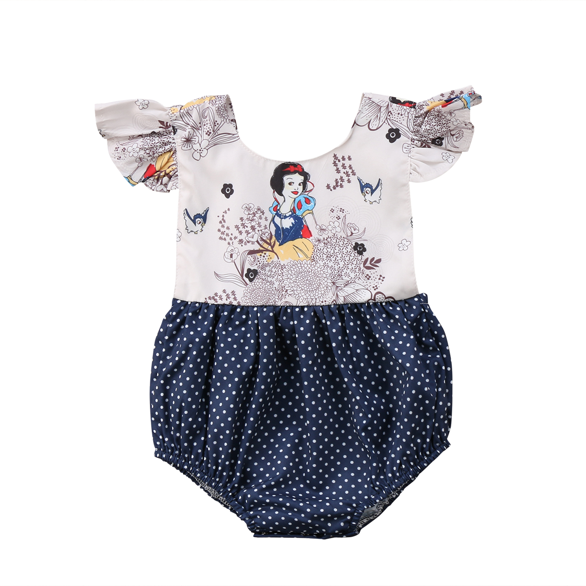 Toddler Baby Girl Kids Watermelon Romper Jumpsuit Bodysuit Flying Sleeves Dress