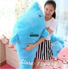 Dorimytrader 140cm Giant Animal Dolphin Pillow Doll Plush Soft Stuffed 55'' Kids Toy Baby Gift 2 Colors Free Shipping DY61064