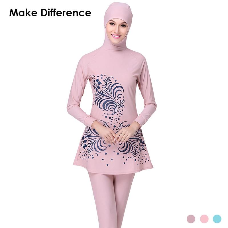 Make Difference Print Islamic Swim Wear Modest Muslim Swimwear 2 Pieces Muslim Swimsuit Connected Hijab Burkinis for Women Girls<br>