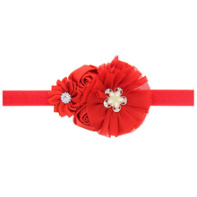 50PCS/LOT Lovely Red Chiffon Flower Christmas Hair Bows Headband kids Hair Accessories Best Merry Christmas DIY Headwear(China)
