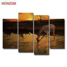 Giraffe Drinking Canvas Art Sunset Farm Decorative Pictures Modern Wall Christmas Canvas Pictures For Home Decor Poster Retro(China)