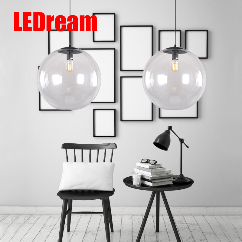 Creative contemporary  single-head restaurant bar bedroom of children clothing store droplight of glass ball and spherical shape<br>