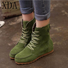 XDA 2017 new Ladies Boots Round Toe Flat Shoes Martin boots Woman Boots Solid Lace Up Womens Casual Shoes Comfort Autumn Shoes