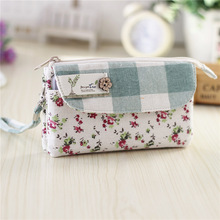 Women plaid cotton coin purse ladies long wallet female small phone money pouch bolsa carteira feminina bolso mujer for girls