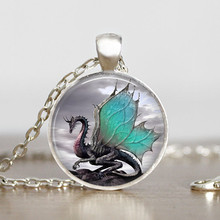 2016 Dragon Necklace Handmade Dragon Jewelry Long Photo Necklace Charm Fantasy Blue Dragon Jewelry HZ1(China)