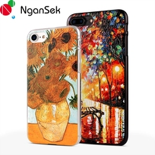 3D Painting Cell Phone Case For iPhone 8 7 Plus Case for iPhone SE 4 5 5s 6 6s Plus Case Van Gogh Starry Night Phone Case Fone(China)