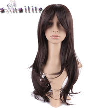 S-noilite Long Dark Brown Silky Straight Glueless Thick Heat Resistant Synthetic Wig 100% Real Natural None Lace Wigs for human(China)