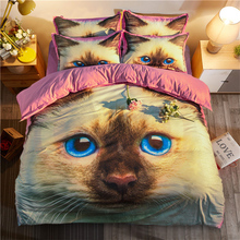 Free shipping holiday gift cat pattern bedding set duvet Quilt Cover with 2 pillowcase for Twin full Queen King