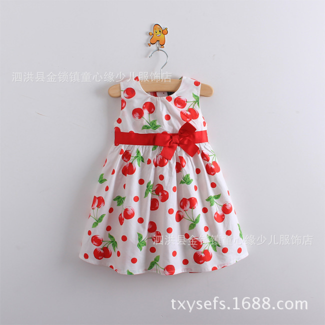 2-10Y 2 3 4 6 8 10 years summer dress casual dress Cherry Cotton Bow print dress Sleeveless wholesale girls clothes  BC00<br><br>Aliexpress
