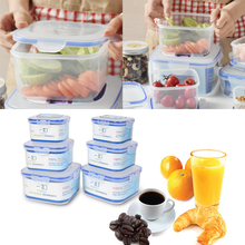 3Pcs Plastic Storage Boxes Set Fresh Food Storage Container Lunch Box Home Organization Kitchen Tools