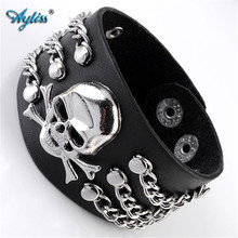 Buy Ayliss 2017 Punk Pu Leather Skull Design Bracelet Wristband Adjustable Size 6.5 8 Inches Cool Punk Men's Bracelet Jewelry 1pc for $3.66 in AliExpress store