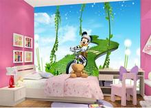 custom 3d photo wallpaper kids room 3d mural Mickey mouse cycling HD painting sofa TV background wall non-woven mural sticker