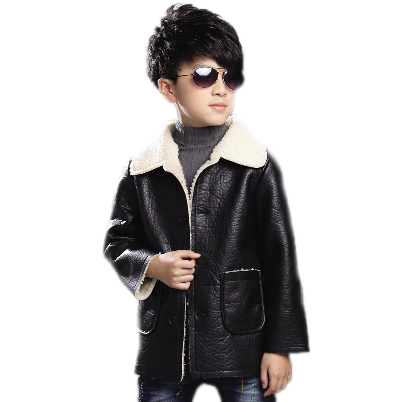 2017 children clothing waterproof windproof boy winter coats plus velvet thick warm boys leather jackets teenager boys outwear<br>