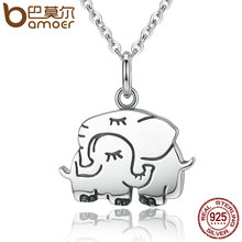 BAMOER 100% 925 Sterling Silver Cute Elephant Hug Pendant Necklaces Women Fine Jewelry Brincos S925 for Mother Gift SCN065(China)