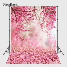 NeoBack 6x9ft Vinyl Pink Peach Flower view new born baby photo background Printed floral garden view Photographic backdrop B1053