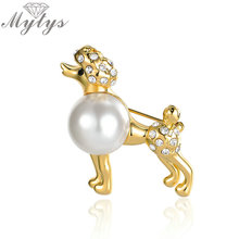 Mytys Fashion Lady Pet Poodle Dog Brooches Pin For Costume Clip Jewelry Accessory Pearl Brooch Animal Design X289(China)