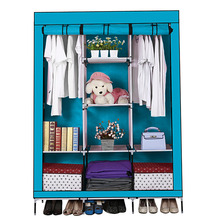 Russia seller! Portable Wardrobe Closet Storage Organizer Cupboard Cloth Rack With Shelves 7 color choose(China)
