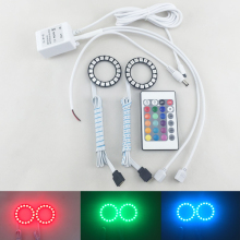 New Style! 2PCs (1 Pair) Car 50MM Led Angel Eyes Halo Rings Kit W/ Color-Changing IR Remote Controller Car-Styling Car Led Light