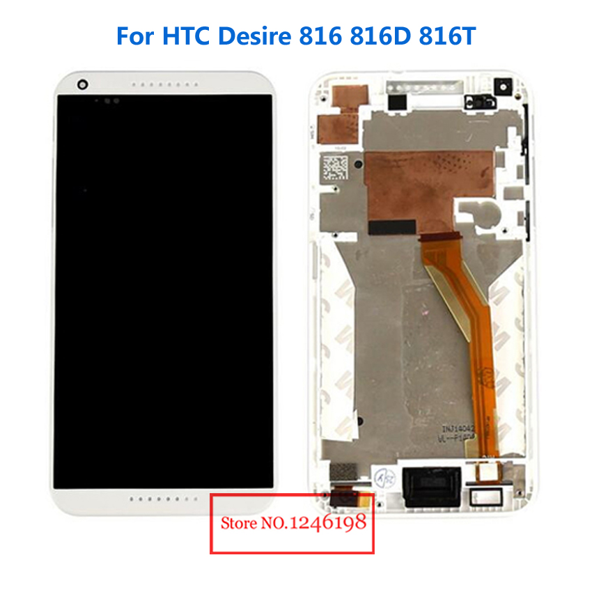 White Full LCD Display + Touch Screen Digitizer Assembly With Frame For HTC Desire 816 816D 816T D816W Phone Replacement Part<br><br>Aliexpress