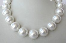 classic big 20mm round white south sea shell pearl necklace clasp AAA style Fine Noble real Natural free shipping