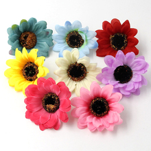 10PCS 7CM Silk Sunflower Artificial Flowers Head For Wedding Party Decoration DIY Garland Decorative Floristry Fake Flowers