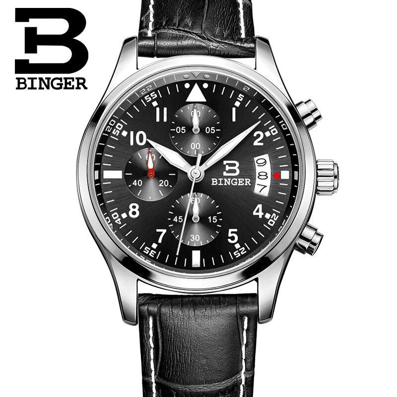 Binger watches men Sports watches Black steel Dual time Digital Quartz Watch waterproof casual business japan movt wristwatch<br>