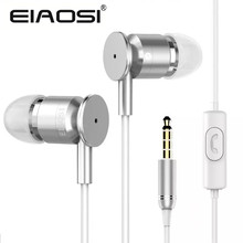 Promotional EIAOSI X6 3.5mm good bass metal in-ear earphone with Microphone for iPhone 6 5S 4S 4 Samsung MP3 MP4