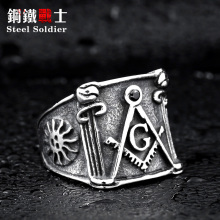 steel soldier vintage popular American and Europe style masonic man ring retail stainless steel unique jewelry