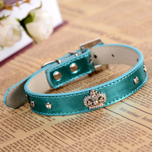 Rhinestone Buckle Dog-Collar Leather Collar For Dogs Rhinestones Crown Charm Pet Necklace Dog Supplies(China)