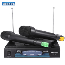 WEISRE WM-03V Professional 220 - 270MHz Karaoke Radio Wireless Handheld VHF Transmitter Microphone Set with 2 Mic 1 Receiver(China)