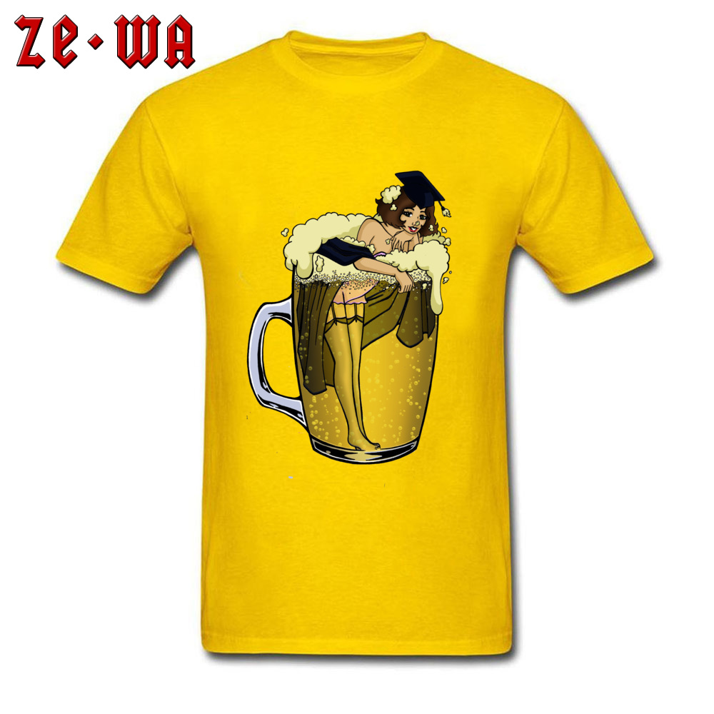 Man Top T-shirts pin up girl in beer Funny Tops Tees Pure Cotton Round Neck Short Sleeve Design T Shirt Summer/Autumn pin up girl in beer yellow